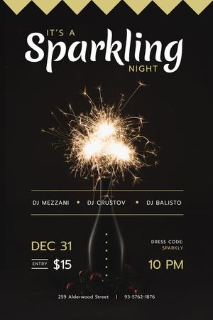 New Year Party Invitation with Burning Sparklers Pinterest Modelo de Design