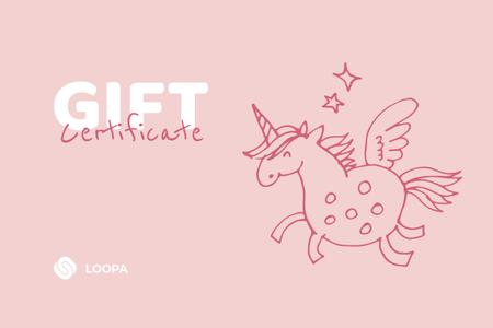 Modèle de visuel Kids Store promotion with Unicorn - Gift Certificate