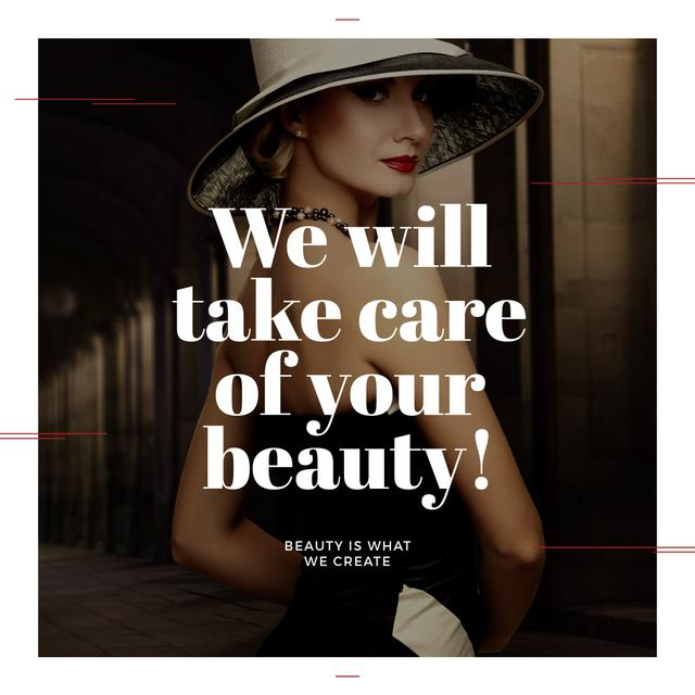 Beauty Services Ad with Fashionable Woman Instagram AD Design Template