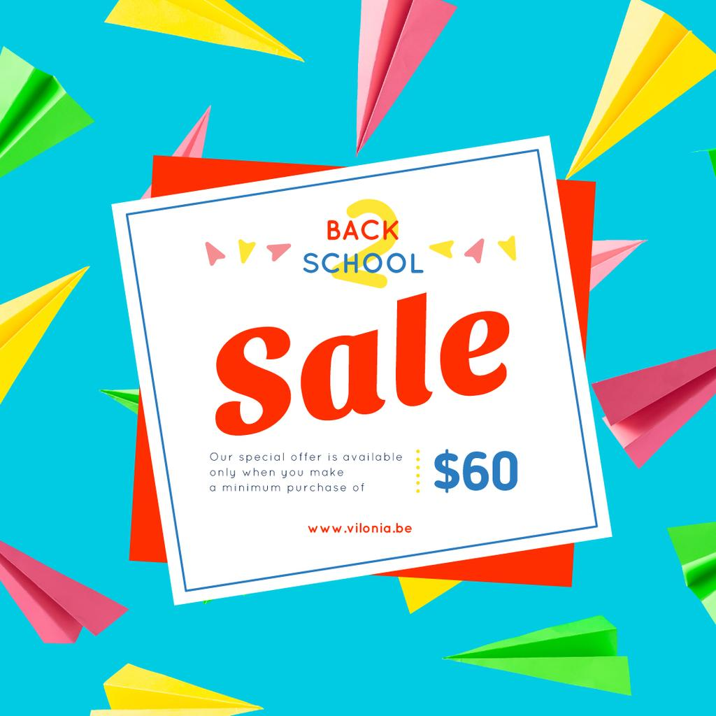 Back to School Sale Colorful Paper Planes on Blue | Instagram Post Template — Створити дизайн