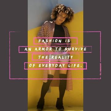 Fashion Quote with Stylish Young Woman | Square Video Template