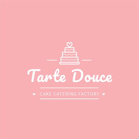 Bakery Ad with Layered Pink Cake Logo Tasarım Şablonu