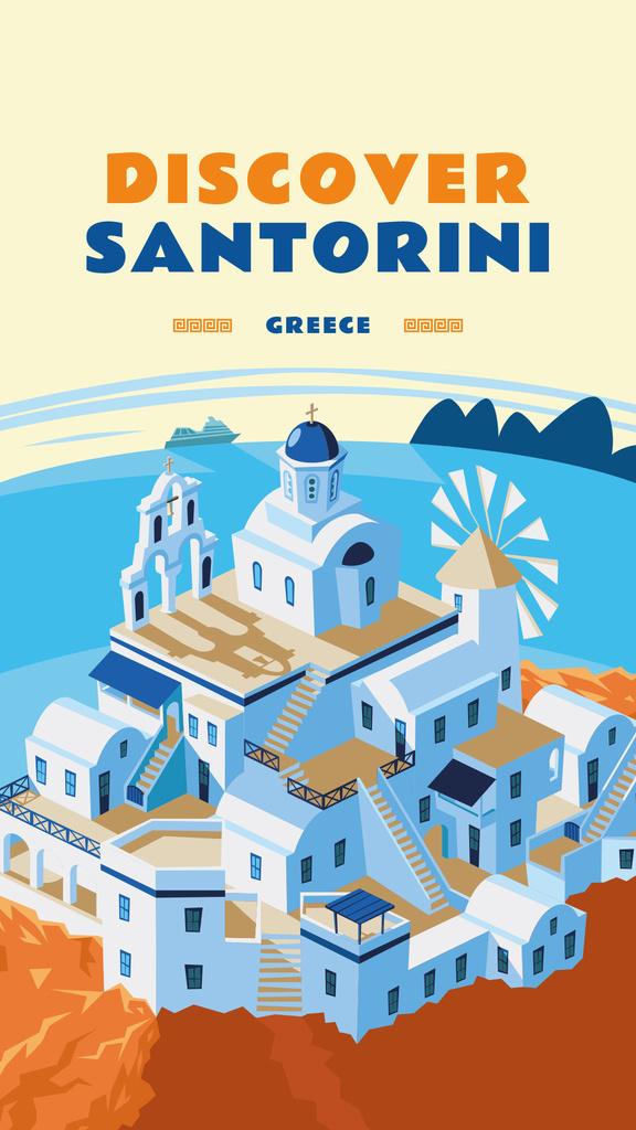 Modèle de visuel Santorini city view illustration - Instagram Story