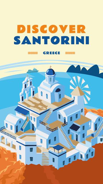 Santorini city view illustration Instagram Story – шаблон для дизайна