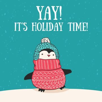 Winter Greeting Cute Winter Penguin in Hat | Square Video Template