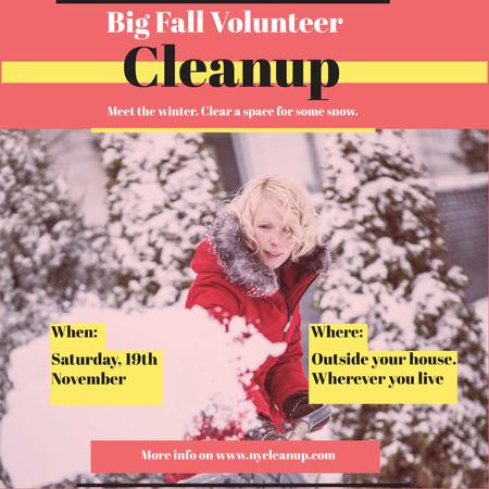 Ontwerpsjabloon van Instagram AD van Woman at Winter Volunteer clean up