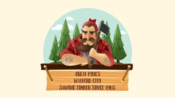 Timber Industry Ad Lumberjack in Forest