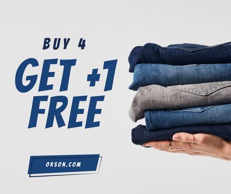 Plantilla de diseño de Fashion Sale Blue Jeans Pile Facebook