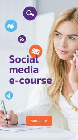 Modèle de visuel Social Media Course Woman with Laptop and Smartphone - Instagram Story