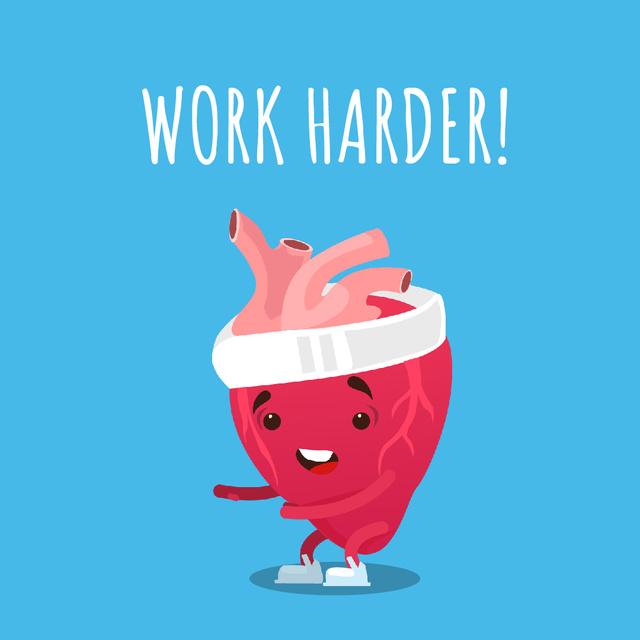 Heart character exercising Animated Post Tasarım Şablonu