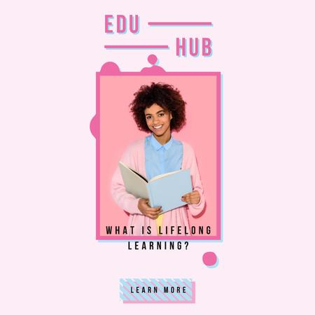Designvorlage Education Courses with Woman Holding Book für Animated Post