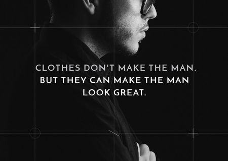Citation about a man clothes Postcard Modelo de Design