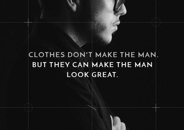 Plantilla de diseño de Citation about a man clothes Postcard