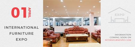Furniture Expo invitation with modern Interior Tumblr Modelo de Design