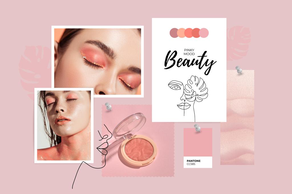 Girl with tender Makeup in Pink Mood Board – шаблон для дизайну
