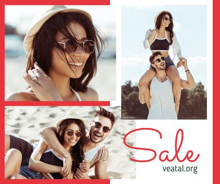 Plantilla de diseño de Travel Offer stylish Couple at the Beach Facebook