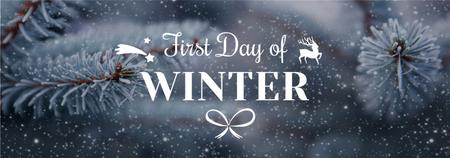 Ontwerpsjabloon van Tumblr van First Day of Winter Greeting Frozen Fir