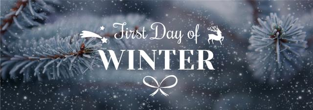 First Day of Winter Greeting Frozen Fir Tumblr Design Template