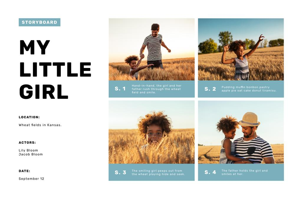 Father with Daughter in Wheat Field Storyboard Design Template