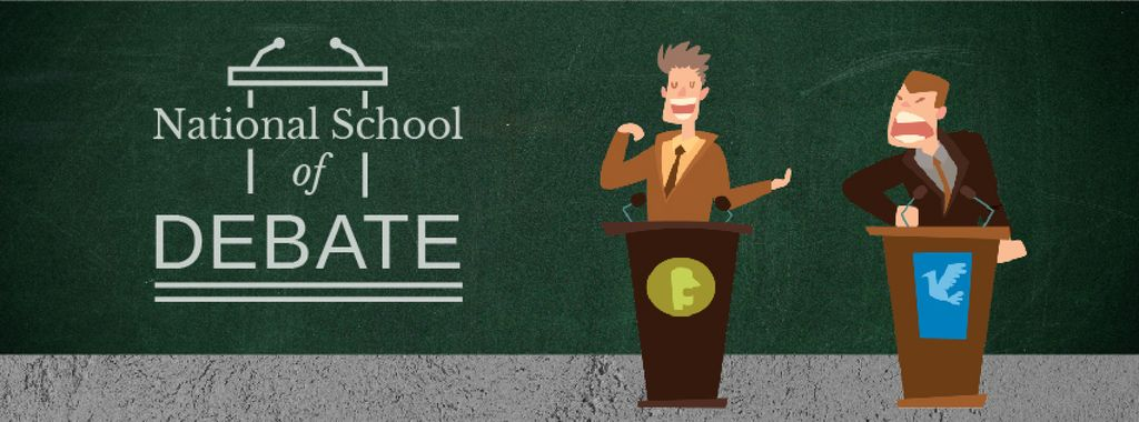 School of Debates Promotion Two Men by Tribunes — Create a Design