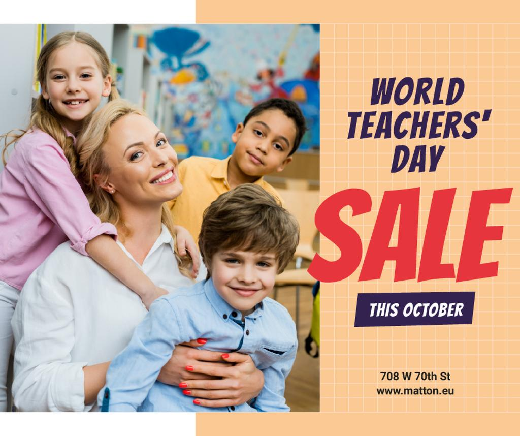 World Teachers' Day Sale Kids in Classroom with Teacher Facebook Modelo de Design