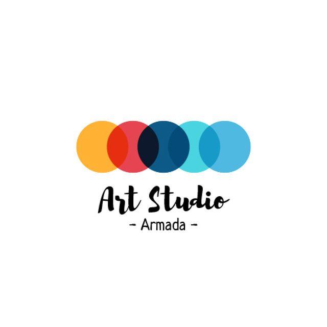 Art Studio Ad with Colorful Circles Animated Logo Tasarım Şablonu