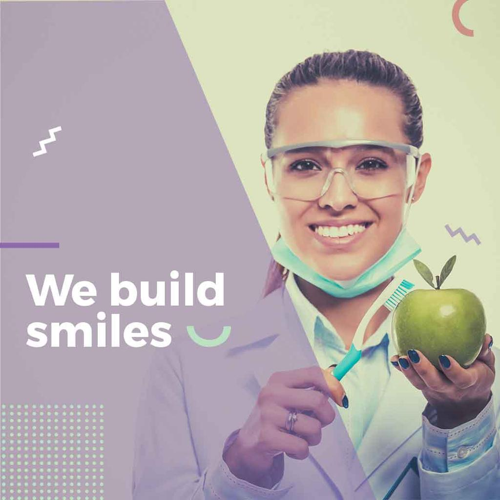 dentistry advertisement poster with young woman holding apple — Create a Design