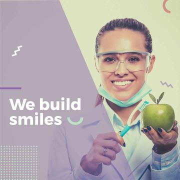dentistry advertisement poster with young woman holding apple