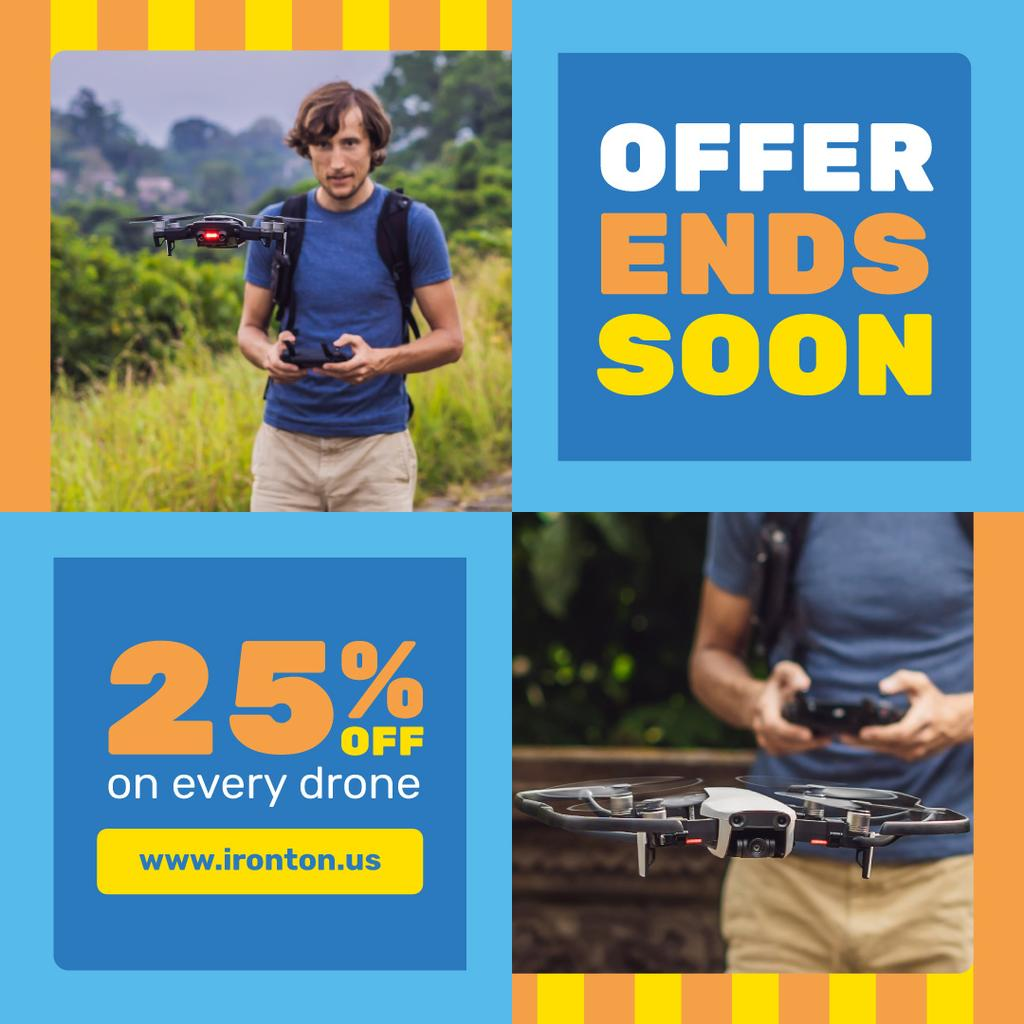 Tech Sale with Man Launching Drone | Instagram Post Template — Create a Design
