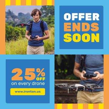 Tech Sale with Man Launching Drone | Instagram Post Template