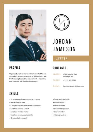 Template di design Professional Lawyer skills and experience Resume