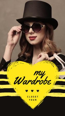 Designvorlage Fashion Blog Ad Woman in Sunglasses and Hat für Instagram Video Story