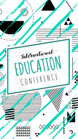 Plantilla de diseño de Education Conference ad on geometric pattern Instagram Story