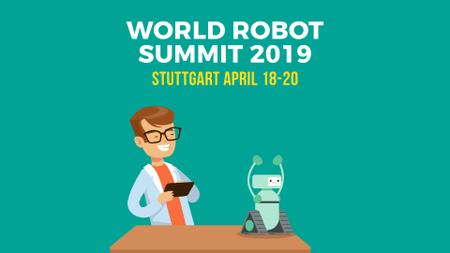 Plantilla de diseño de Robotics Summit Man Programming Robot Full HD video