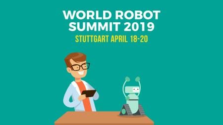 Robotics Summit Man Programming Robot Full HD video Design Template