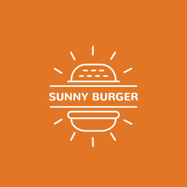 Fast Food Ad with Burger in Orange Animated Logo Design Template