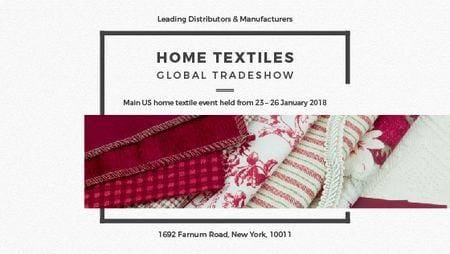 Home Textiles Event Announcement in Red Title Modelo de Design