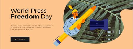 Modèle de visuel Press Freedom Day Woman with Giant Pencil - Facebook Video cover