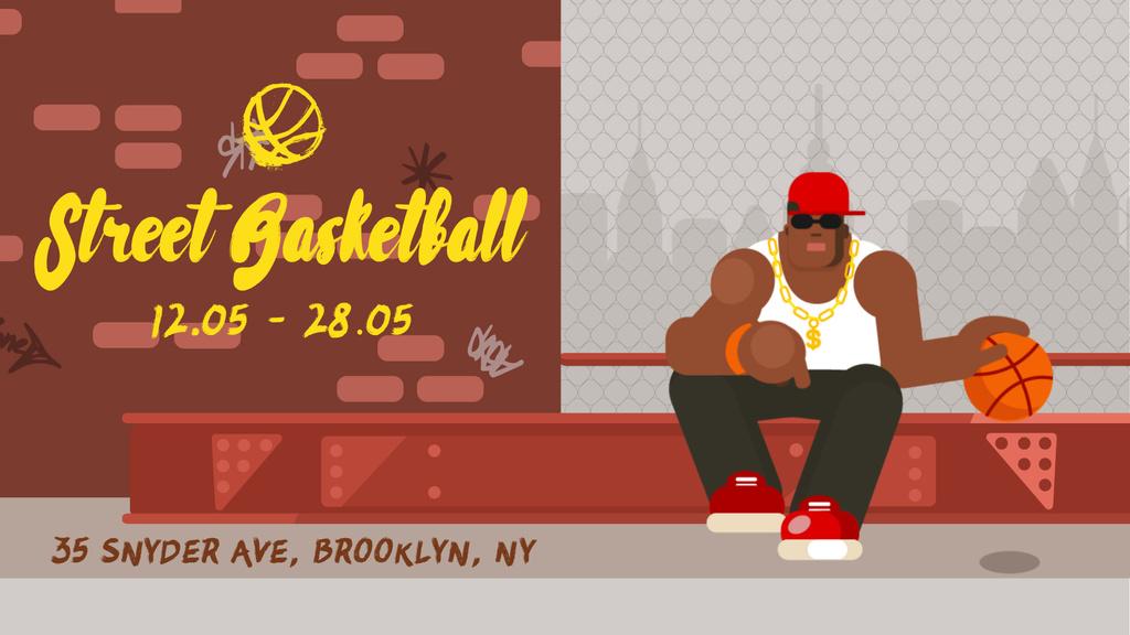 African american man playing basketball — Modelo de projeto