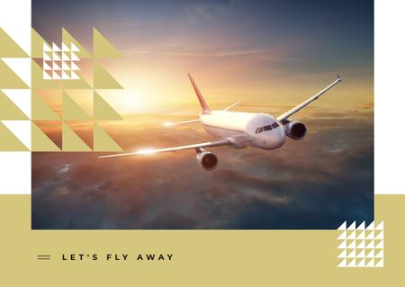 Plane flying in the sky Postcard Modelo de Design