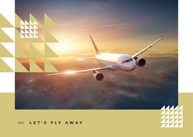 Plane flying in the sky Postcard Design Template
