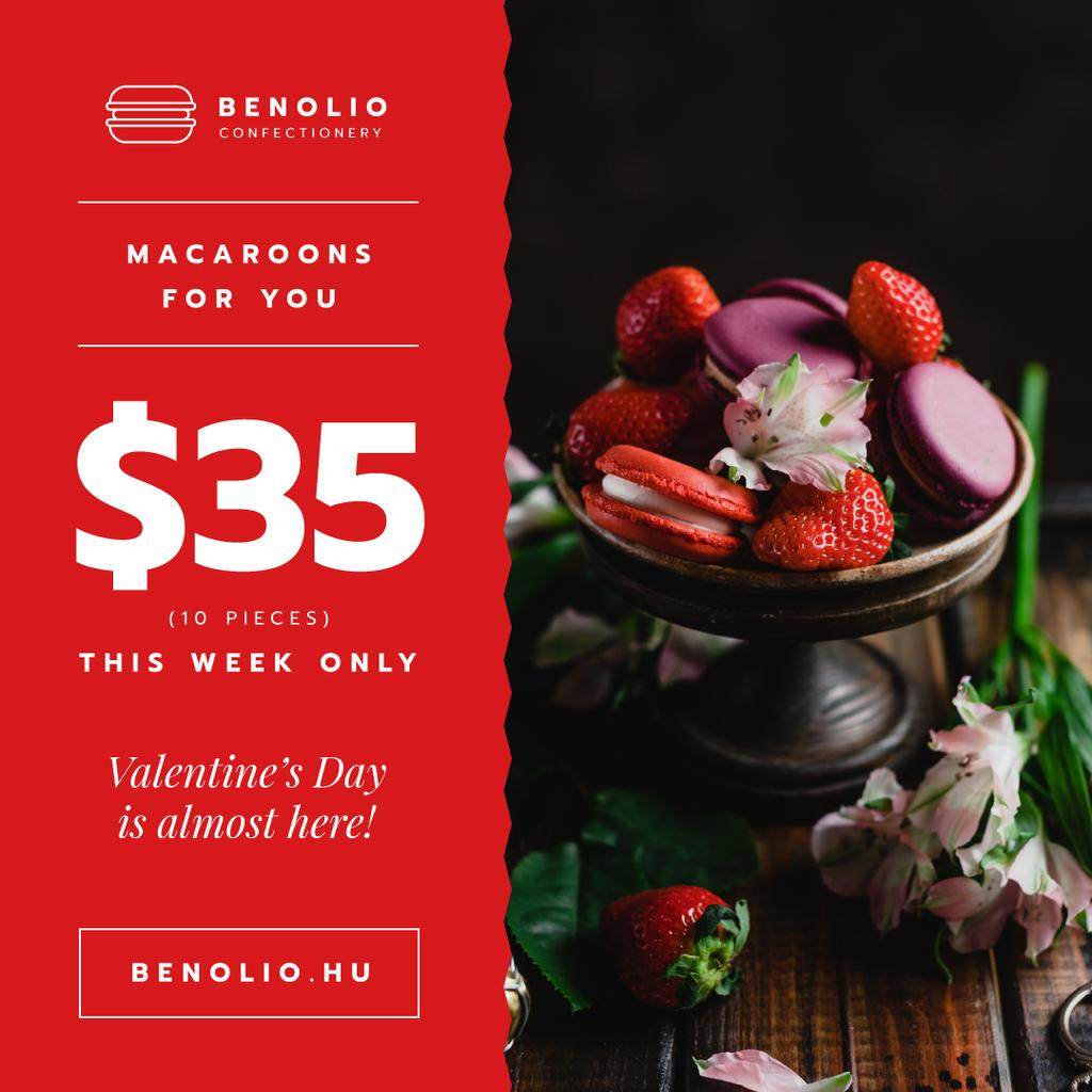 Valentine's Day Offer Macarons with Berries — Modelo de projeto