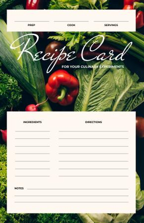 Fresh Raw Vegetables Recipe Card Modelo de Design
