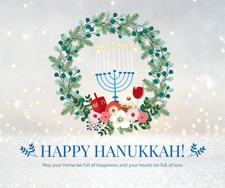 Happy Hanukkah greeting wreath Facebook Design Template