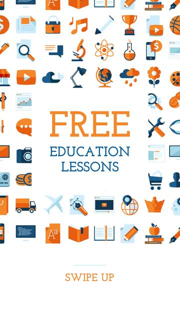 Education lessons on Bright Sciences Icons Instagram Story – шаблон для дизайна