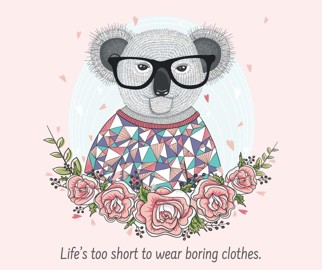 Fashion quote with Koala in Flowers — Crear un diseño