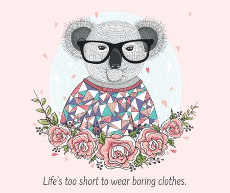 Modèle de visuel Fashion quote with Koala in Flowers - Facebook