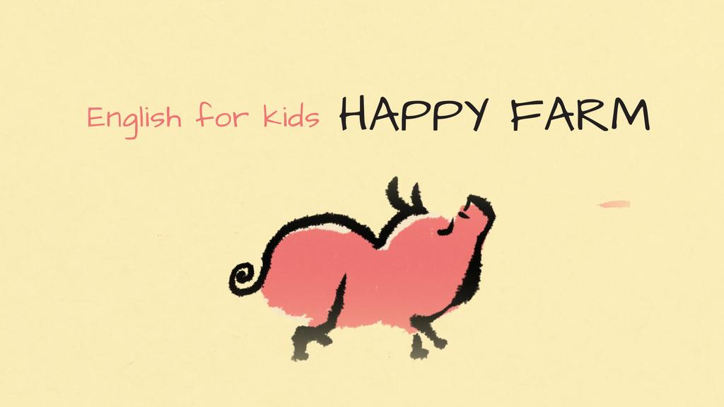 Kids Courses Ad Happy Pig Walking — Создать дизайн