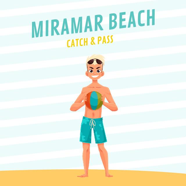 Designvorlage Beach Volleyball Invitation with Man with Ball  für Animated Post