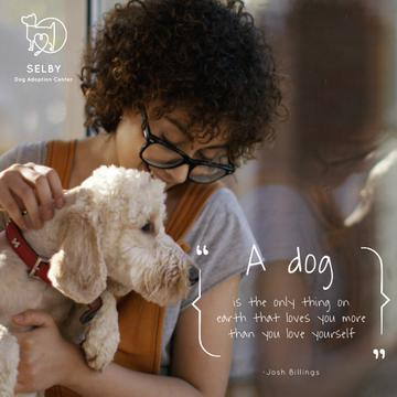 Dog Quote with Cute Puppy with Owner